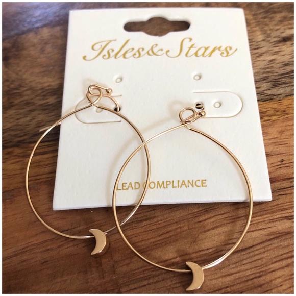 a58fa23037d15 Large Crescent Moon Hoop Hook Earrings Boutique